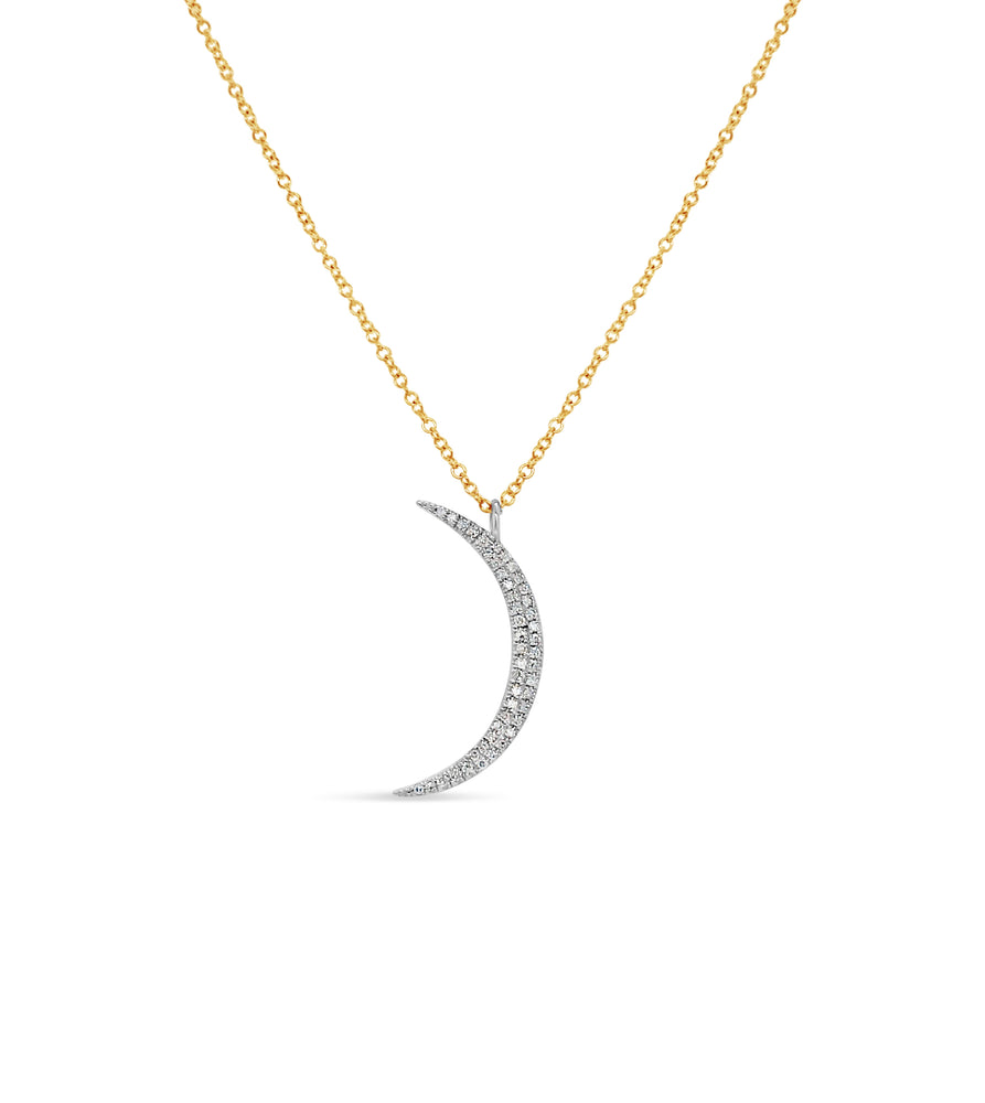 Diamond Crescent Moon Necklace - 14K  - Olive & Chain Fine Jewelry