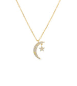Diamond Moon & Star Necklace - 14K Yellow Gold - Olive & Chain Fine Jewelry