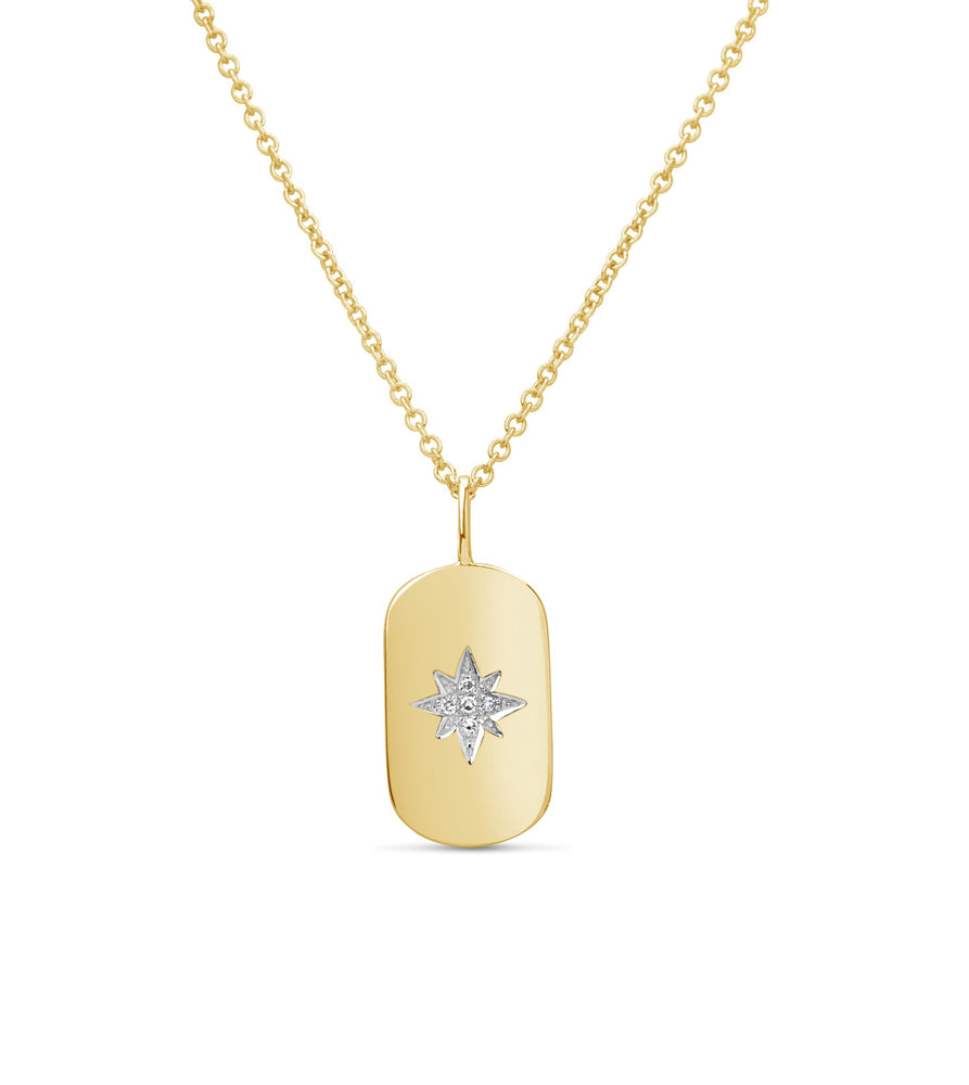 Diamond North Star Dog Tag Necklace - 14K Yellow Gold - Olive & Chain Fine Jewelry