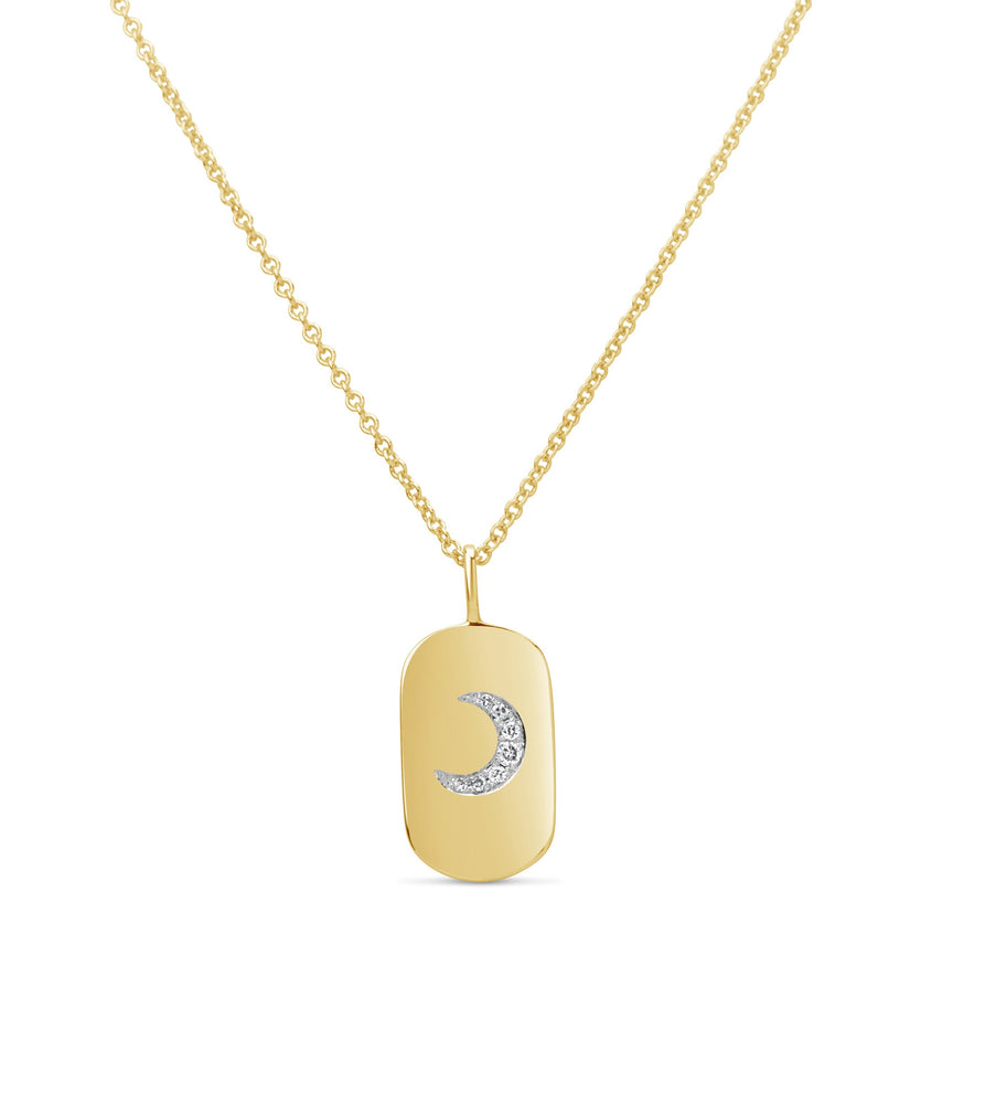 Diamond Moon Dog Tag Necklace - 14K Yellow Gold - Olive Jewelry