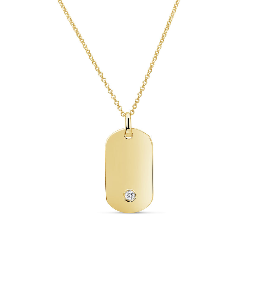 Diamond Dot Dog Tag Necklace