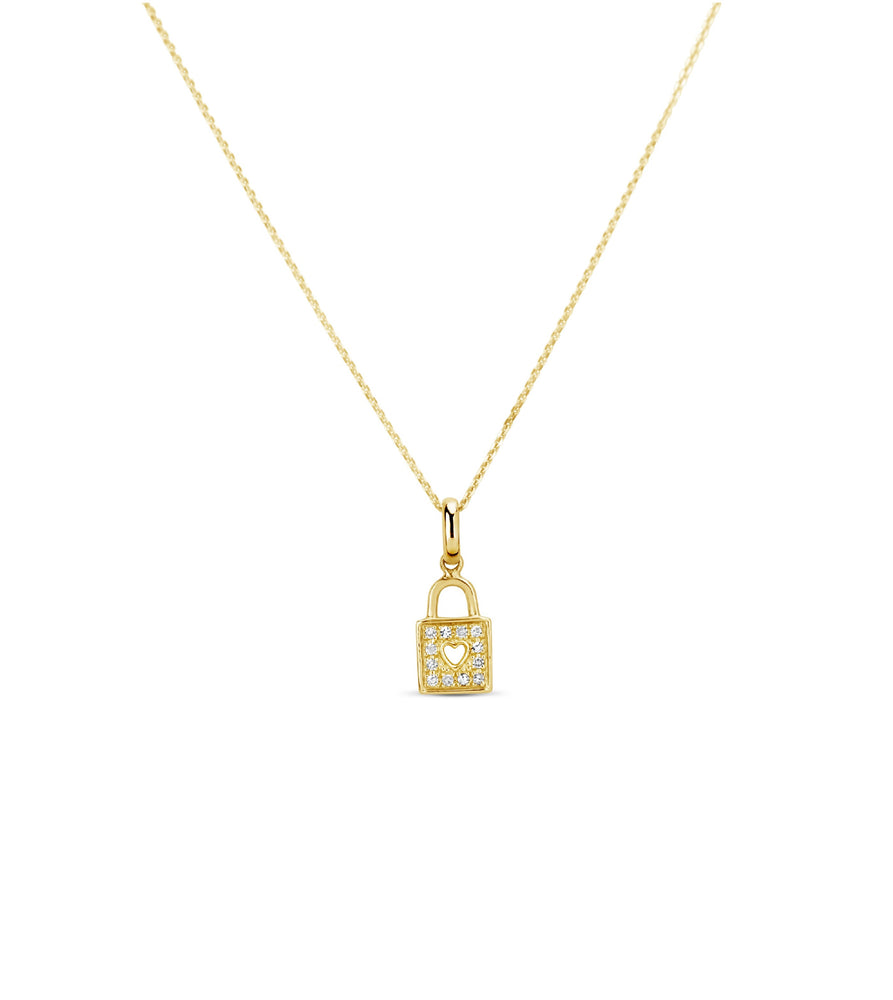 Diamond Padlock Heart Necklace - 14K Yellow Gold - Olive & Chain Fine Jewelry