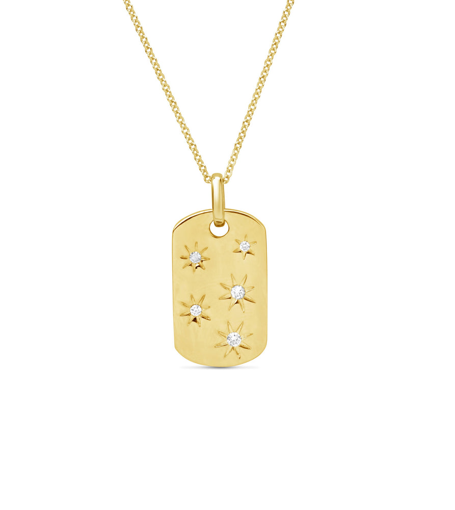 Diamond Stars Dog Tag Necklace - 14K Yellow Gold - Olive Jewelry