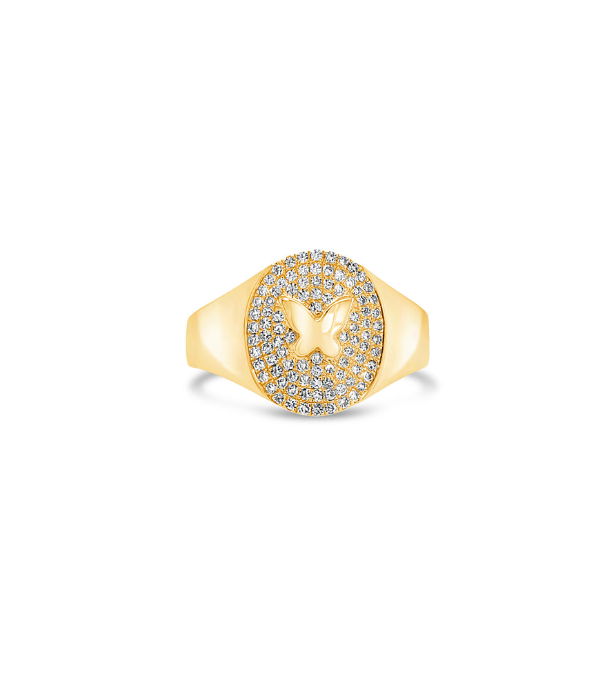 Diamond Butterfly Pinky Ring - 14K Yellow Gold / 3.5 - Olive & Chain Fine Jewelry