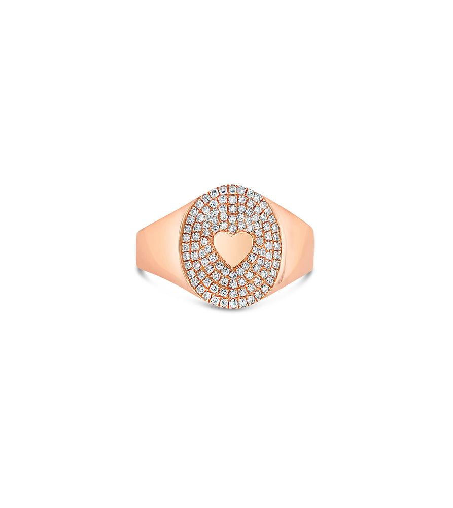 Diamond Heart Pinky Ring - 14K Rose Gold / 3.5 - Olive & Chain Fine Jewelry