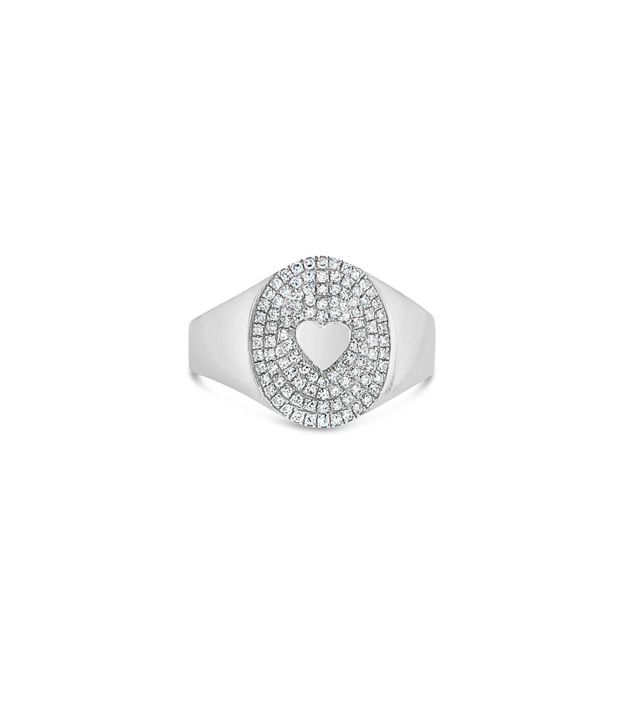 Diamond Heart Pinky Ring - 14K White Gold / 3.5 - Olive & Chain Fine Jewelry