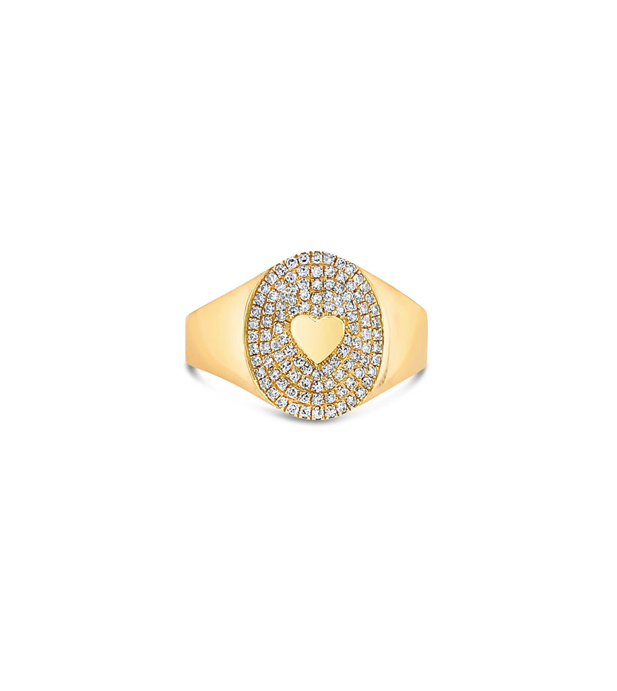 Diamond Heart Pinky Ring - 14K Yellow Gold / 3.5 - Olive & Chain Fine Jewelry