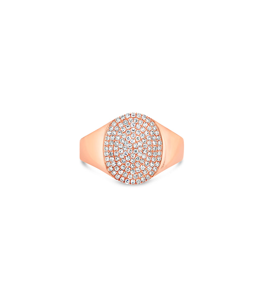 Diamond Oval Pinky Ring - 14K Rose Gold / 3.5 - Olive & Chain Fine Jewelry