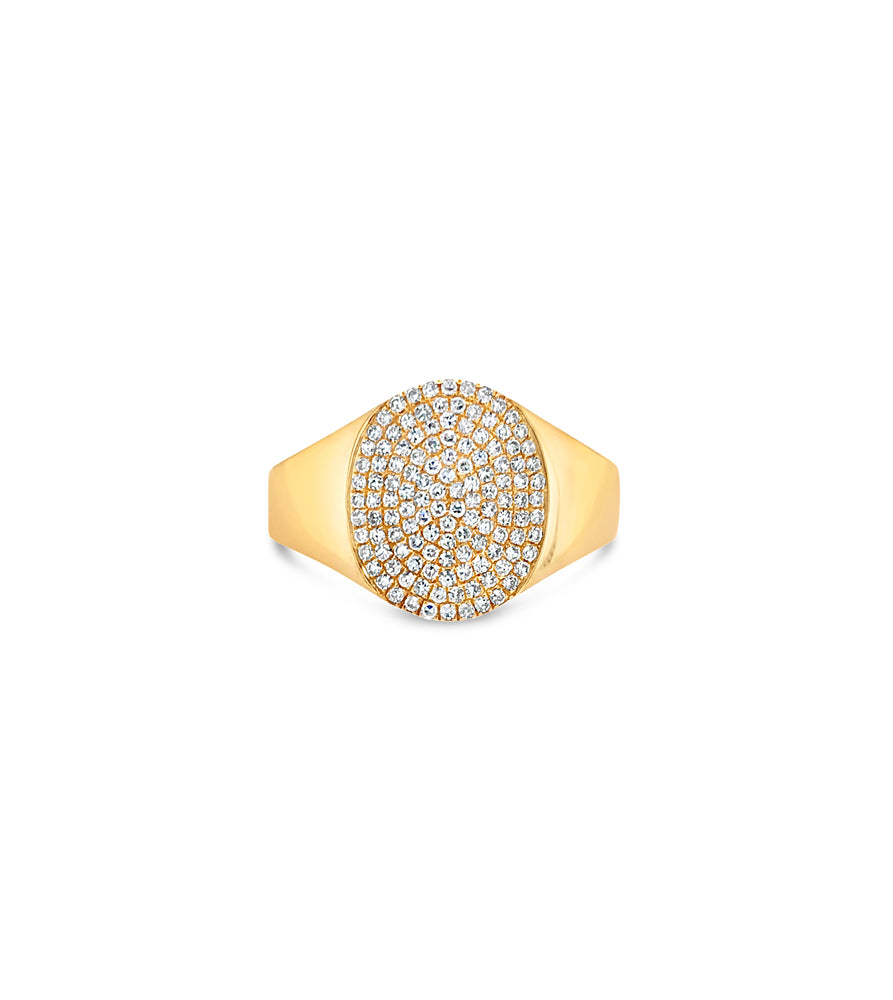 Diamond Oval Pinky Ring - 14K Yellow Gold / 3.5 - Olive & Chain Fine Jewelry