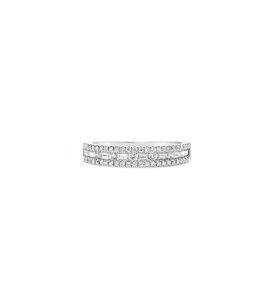 Alternating Baguette & Round Diamond Band - 14K  - Olive & Chain Fine Jewelry
