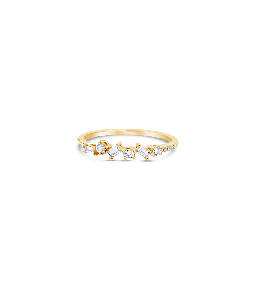 Diamond Cluster Band - 14K Yellow Gold / 5 - Olive & Chain Fine Jewelry
