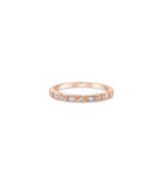 Diamond Baguette & Round Bezel Band - 14K Rose Gold / 5 - Olive & Chain Fine Jewelry