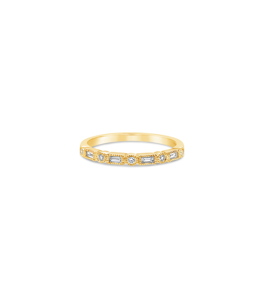 Diamond Baguette & Round Bezel Band - 14K Yellow Gold / 5 - Olive & Chain Fine Jewelry