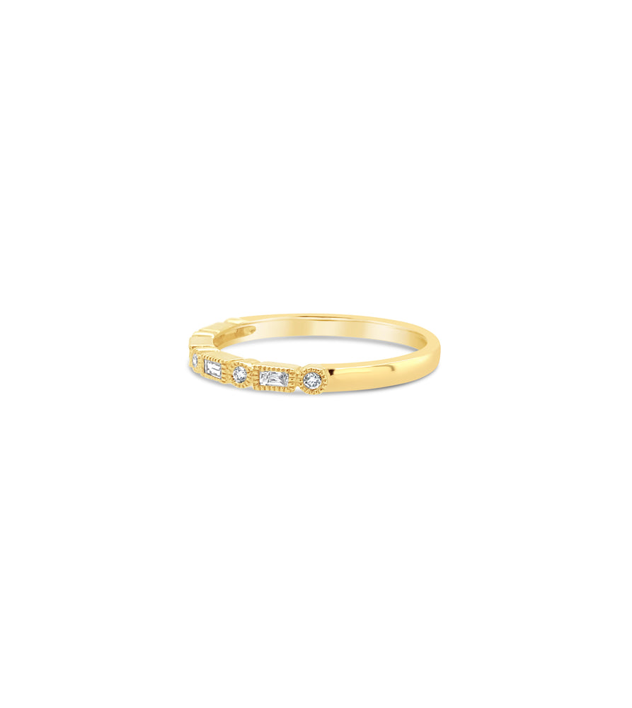 Diamond Baguette & Round Bezel Band - 14K  - Olive & Chain Fine Jewelry