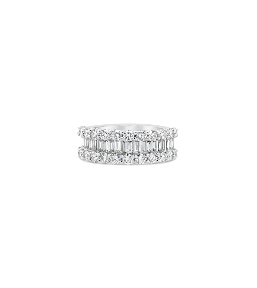 Baguette & Round Diamond Band - 14K White Gold / Large / 4 - Olive & Chain Fine Jewelry