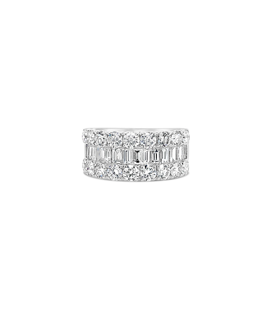 Baguette & Round Diamond Band - 14K White Gold / Jumbo / 4 - Olive & Chain Fine Jewelry