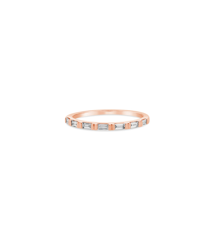 Diamond Baguette Bar Set Band - 14K Rose Gold / 5 - Olive & Chain Fine Jewelry