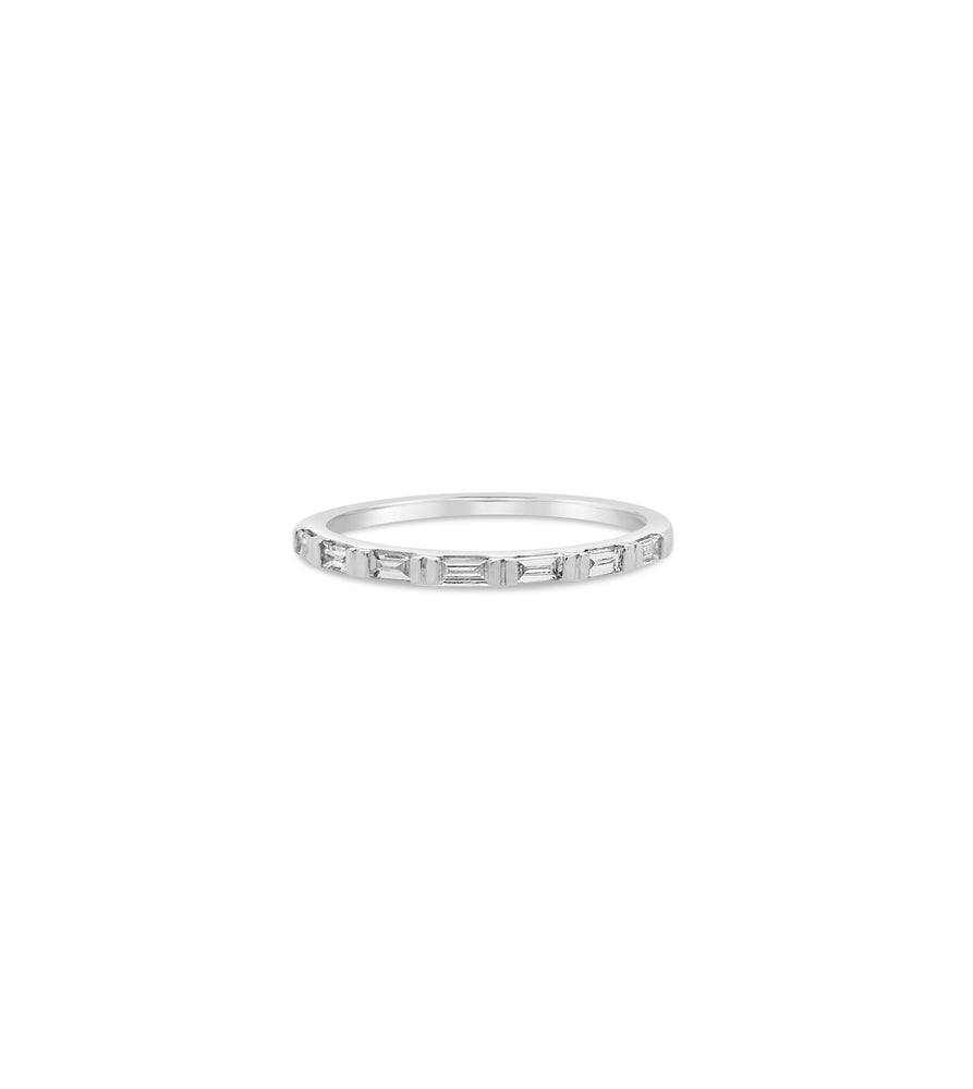 Diamond Baguette Bar Set Band - 14K White Gold / 5 - Olive & Chain Fine Jewelry