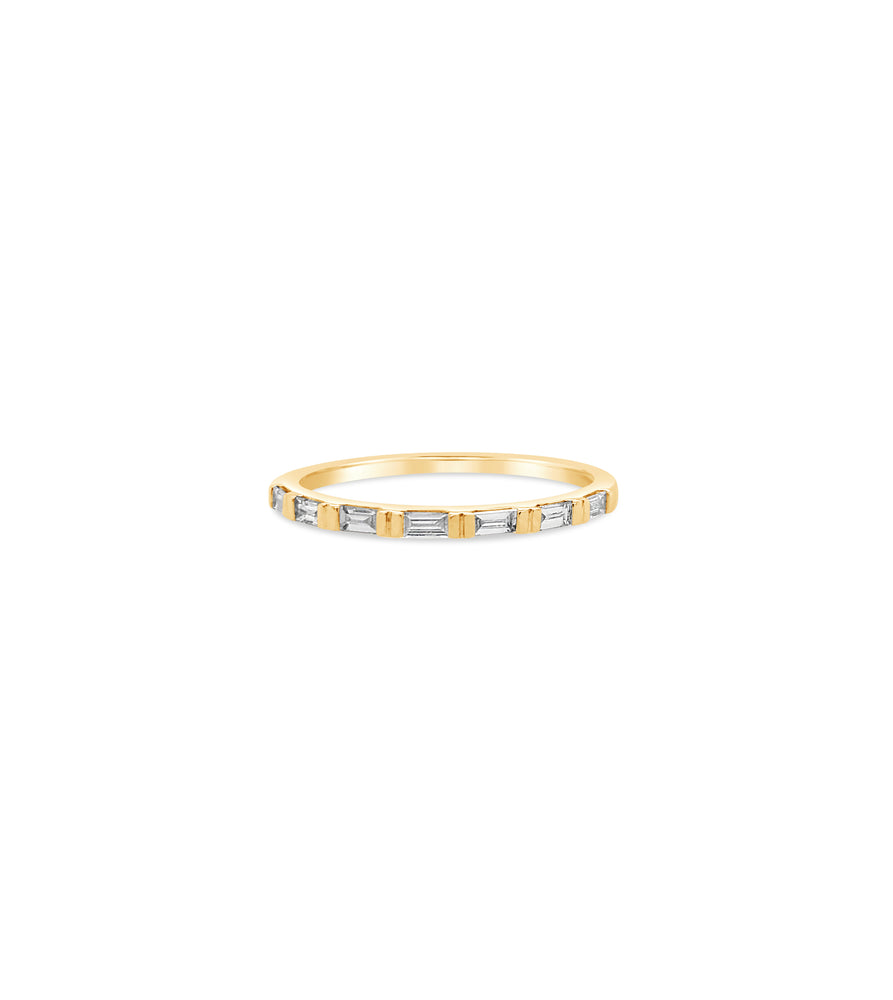 Diamond Baguette Bar Set Band - 14K Yellow Gold / 5 - Olive & Chain Fine Jewelry