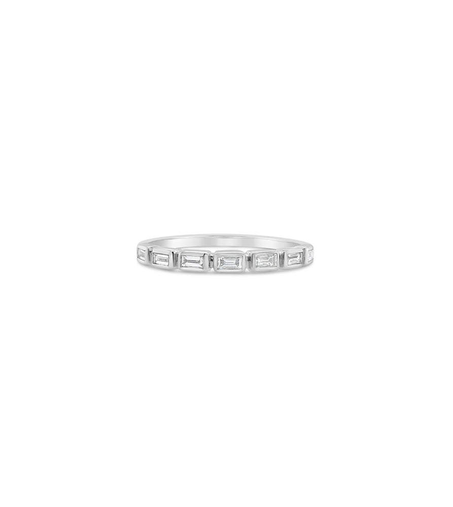 Diamond Baguette Bezel Set Band - 14K White Gold / 5 - Olive & Chain Fine Jewelry