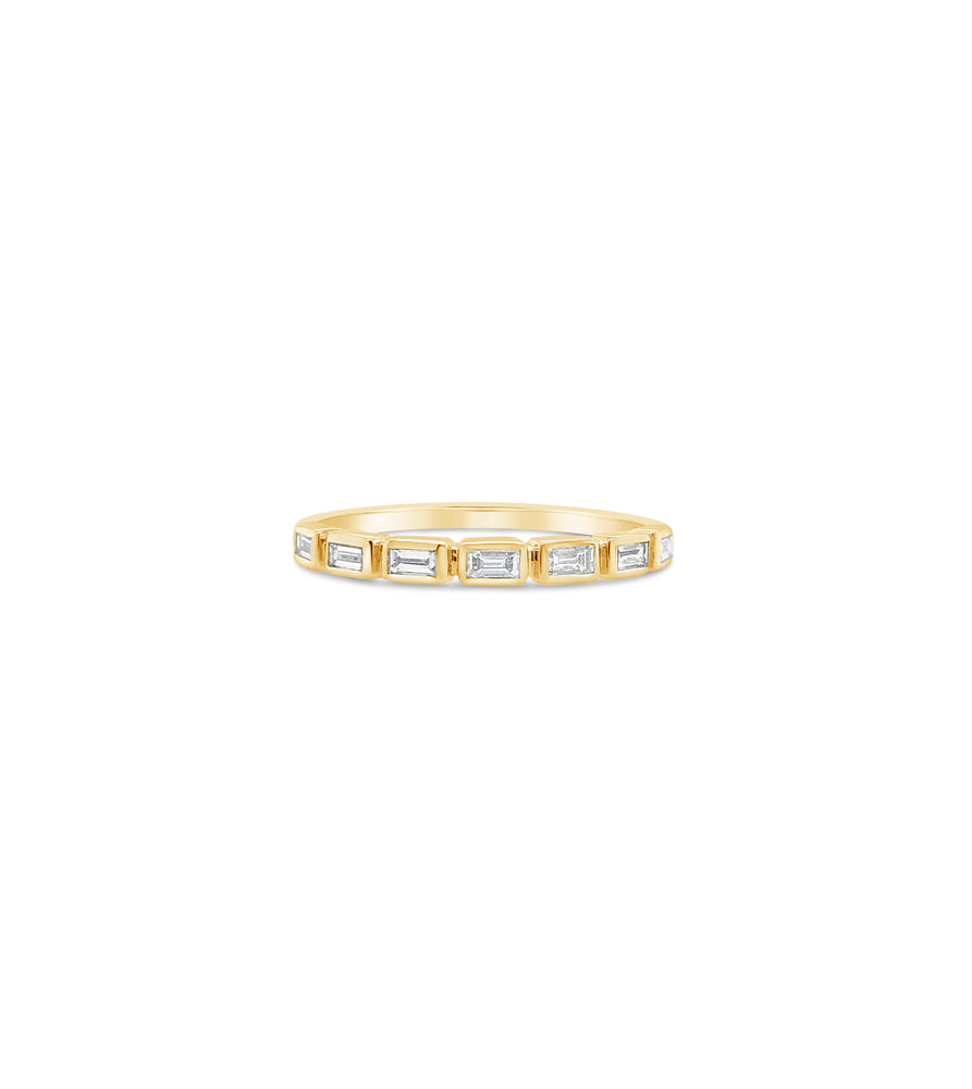 Diamond Baguette Bezel Set Band - 14K Yellow Gold / 5 - Olive & Chain Fine Jewelry