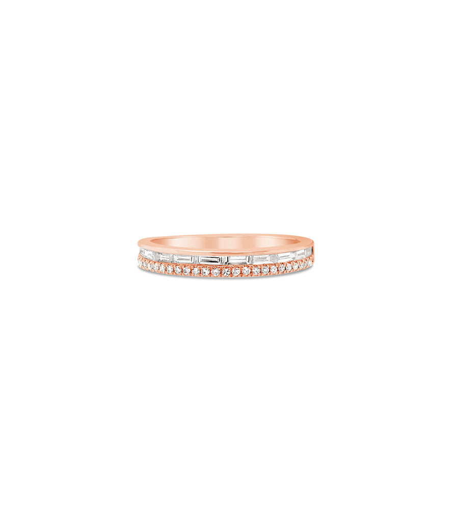 Baguette & Round Diamond Band - 14K Rose Gold / 5 - Olive & Chain Fine Jewelry