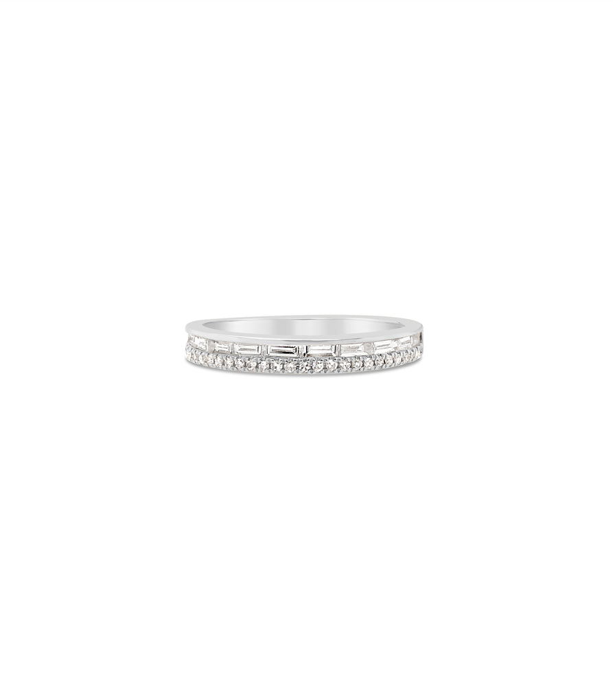 Baguette & Round Diamond Band - 14K White Gold / 5 - Olive & Chain Fine Jewelry