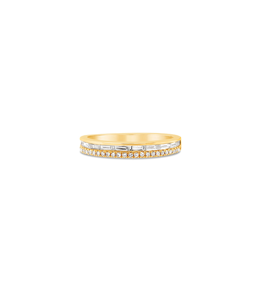 Baguette & Round Diamond Band - 14K Yellow Gold / 5 - Olive & Chain Fine Jewelry