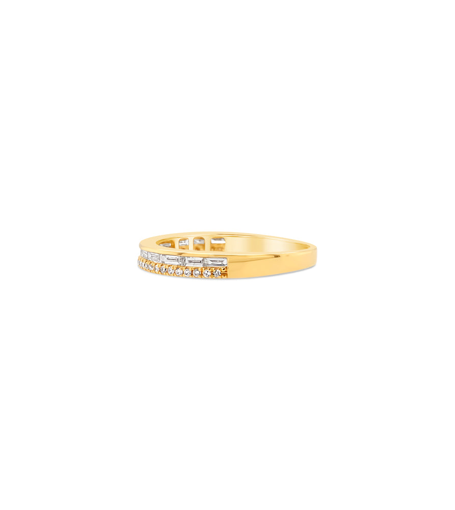 Baguette & Round Diamond Band - 14K  - Olive & Chain Fine Jewelry