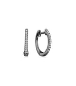 Diamond Mini Huggie Earring - 14K Black Gold / Single - Olive & Chain Fine Jewelry