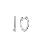 Diamond Mini Huggie Earring - 14K White Gold / Pair - Olive & Chain Fine Jewelry
