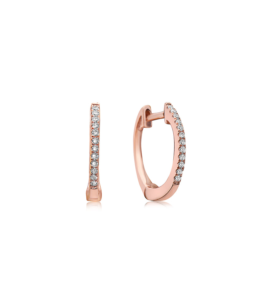 Diamond Mini Huggie Earring - 14K Rose Gold / Pair - Olive & Chain Fine Jewelry