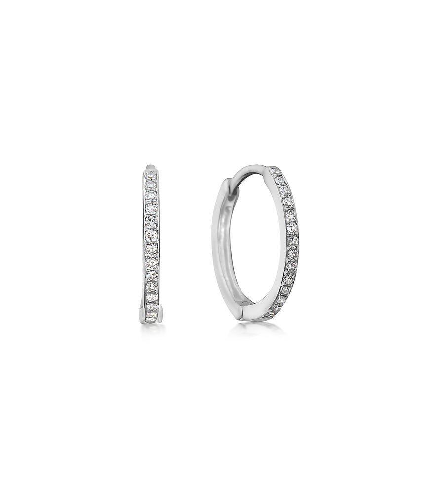 Diamond Huggie Earring - 14K White Gold - Olive & Chain Fine Jewelry