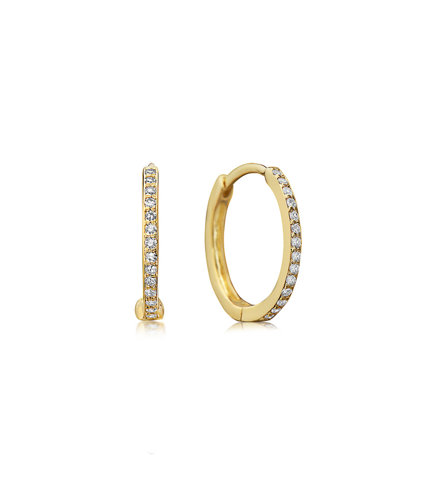 Diamond Huggie Earring - 14K Yellow Gold - Olive & Chain Fine Jewelry
