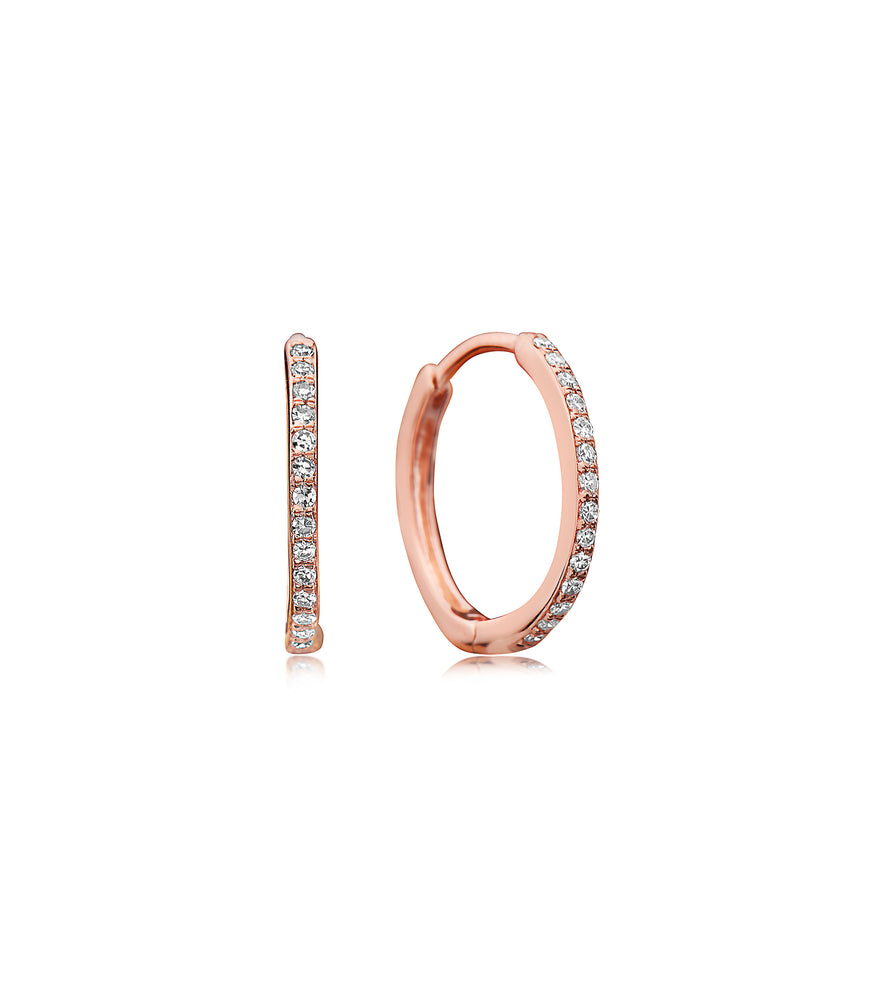 Diamond Huggie Earring - 14K Rose Gold - Olive & Chain Fine Jewelry