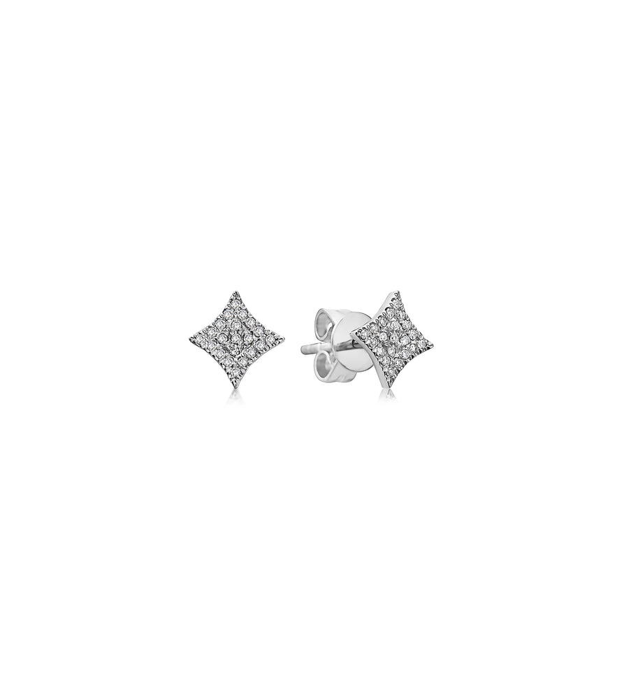 Diamond Firework Stud Earring - 14K White Gold / Pair - Olive & Chain Fine Jewelry