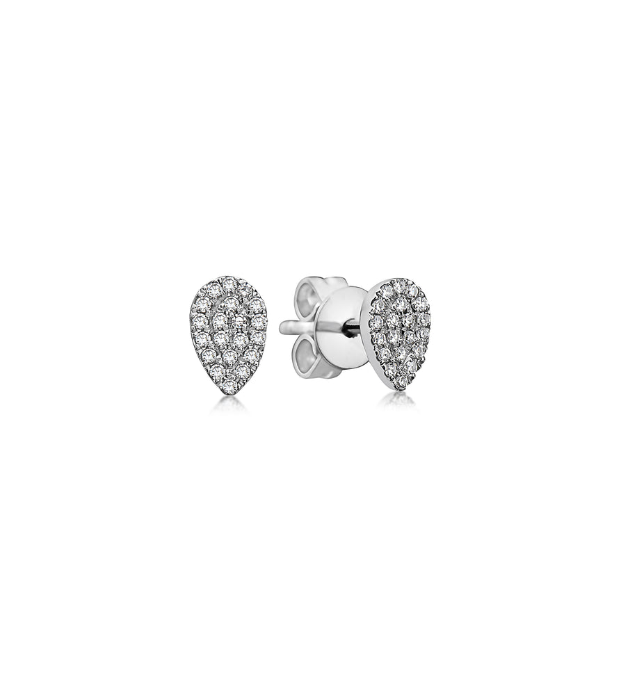 Diamond Pear Stud Earring - 14K White Gold / Pair - Olive Jewelry