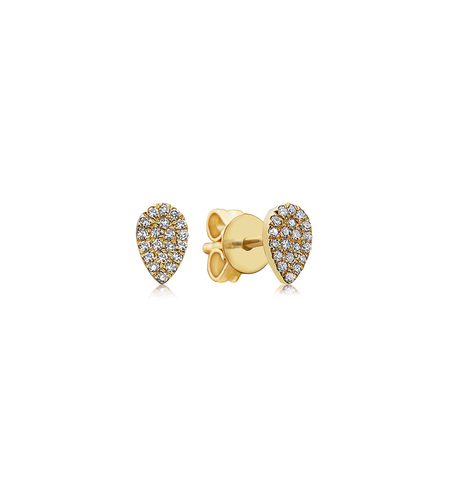 Diamond Pear Stud Earring - 14K Yellow Gold / Pair - Olive Jewelry