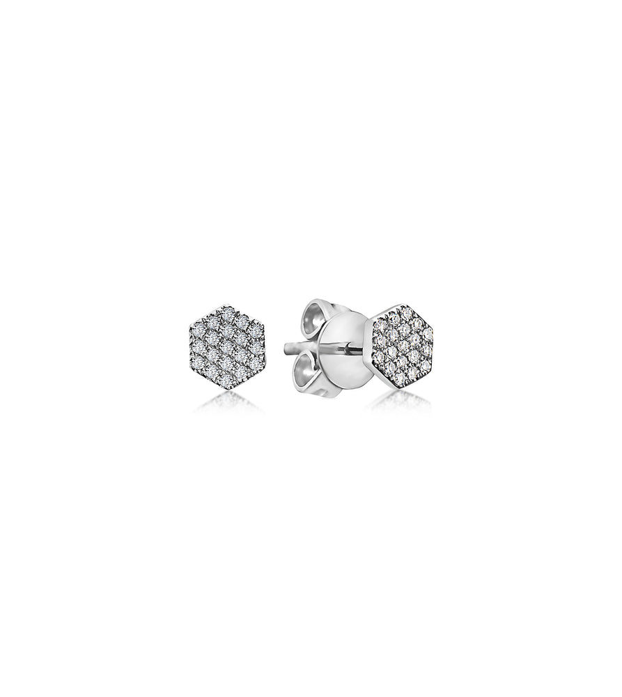 Diamond Honeycomb Stud Earring - 14K White Gold / Pair - Olive Jewelry