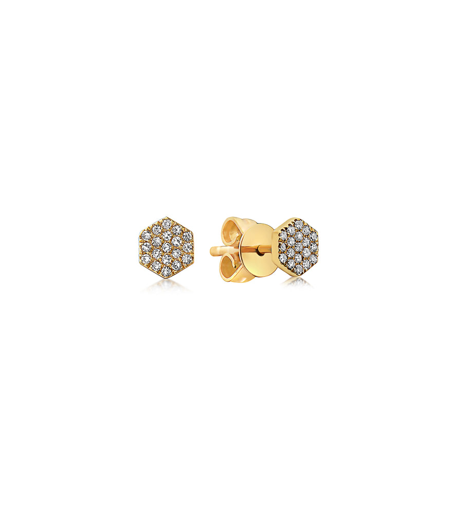 Diamond Honeycomb Stud Earring - 14K Yellow Gold / Pair - Olive Jewelry