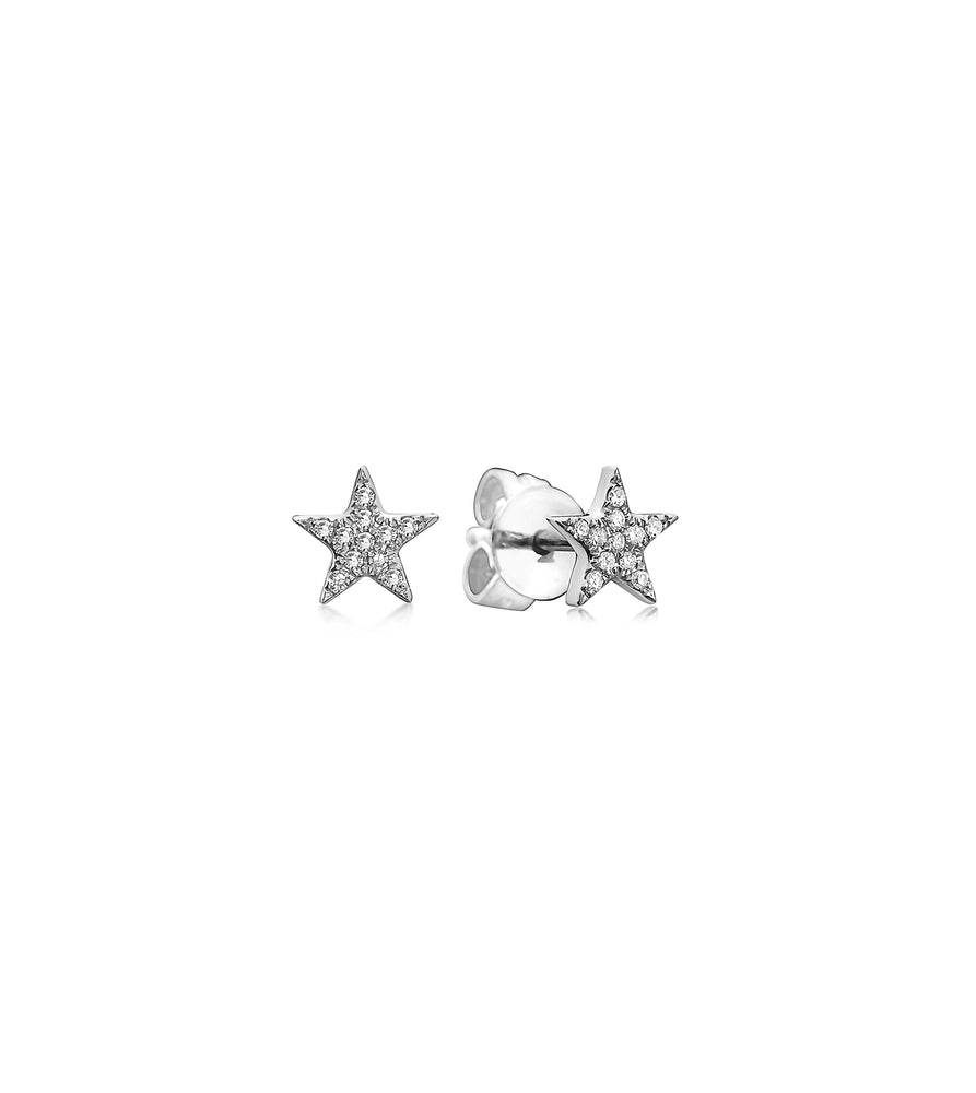 Diamond Star Stud Earring - 14K White Gold / Small / Pair - Olive & Chain Fine Jewelry