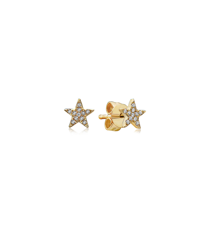 Diamond Star Stud Earring - 14K Yellow Gold / Pair - Olive Jewelry