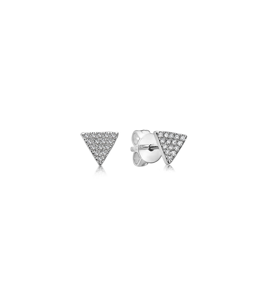 Diamond Triangle Stud Earring - 14K White Gold / Pair - Olive Jewelry