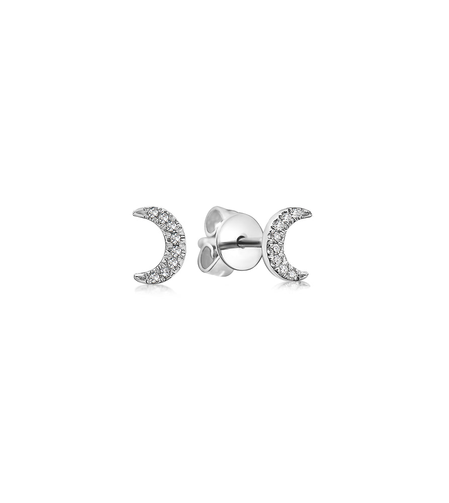 Diamond Moon Stud Earring - 14K White Gold / Small / Pair - Olive & Chain Fine Jewelry