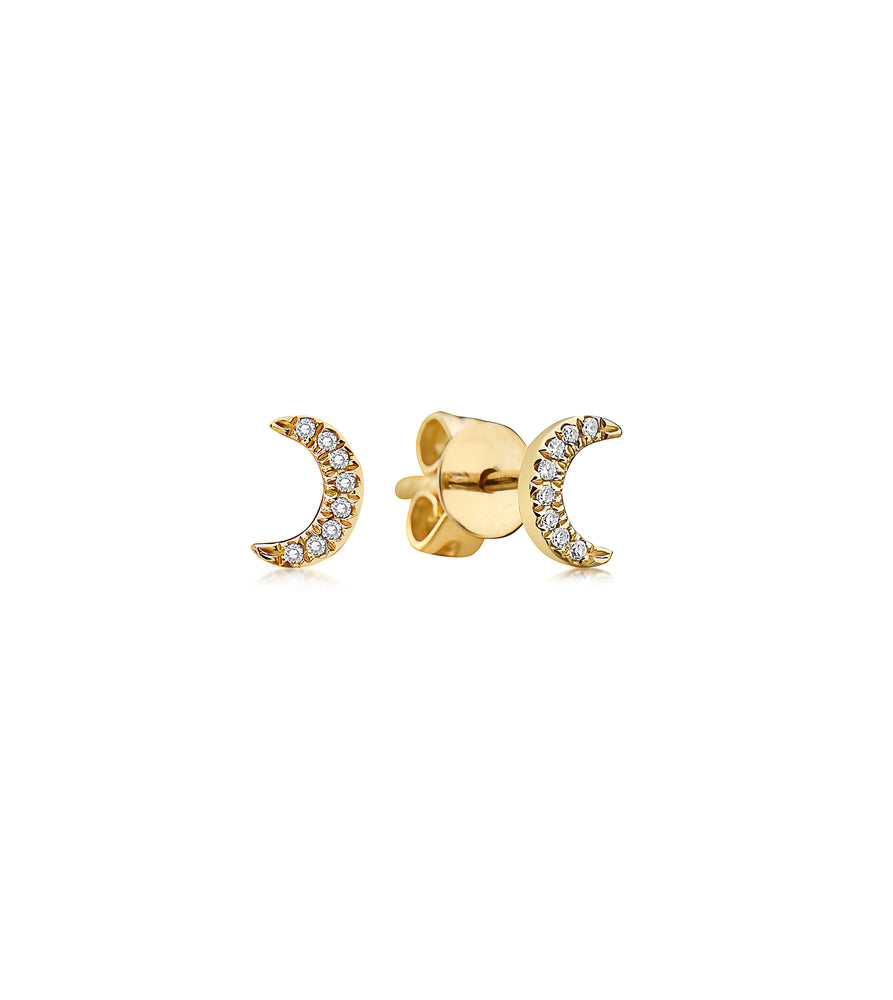Diamond Moon Stud Earring - 14K Yellow Gold / Small / Pair - Olive & Chain Fine Jewelry
