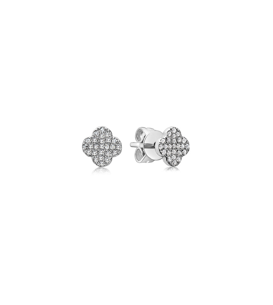 Diamond Clover Stud Earring - 14K White Gold / Pair - Olive & Chain Fine Jewelry
