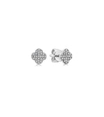 Diamond Clover Stud Earring - 14K White Gold / Small / Pair - Olive & Chain Fine Jewelry