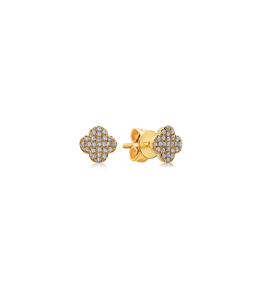 Diamond Clover Stud Earring - 14K Yellow Gold / Pair - Olive & Chain Fine Jewelry