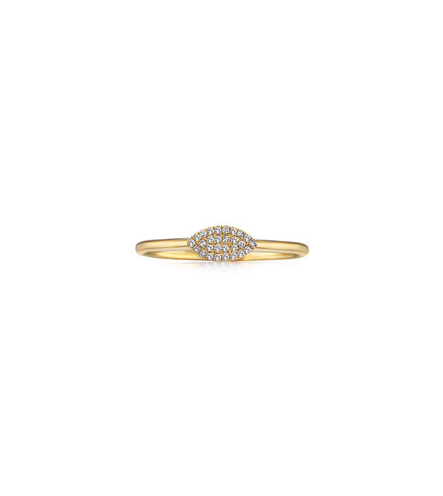 Diamond Marquise Ring - 14K Yellow Gold / 5 - Olive Jewelry