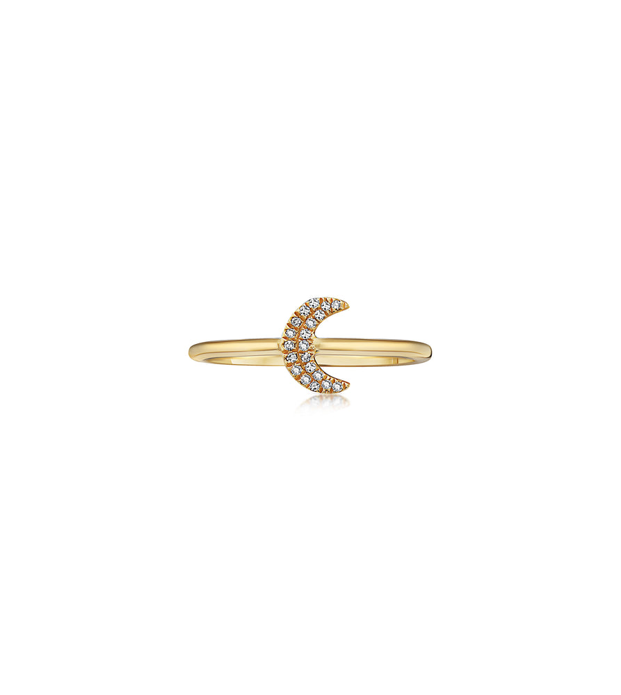 Diamond Moon Ring - 14K Yellow Gold / 5 - Olive & Chain Fine Jewelry